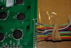 Soldering the cable to the LCD