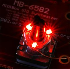 Backlighting transparent knobs for the MB6582