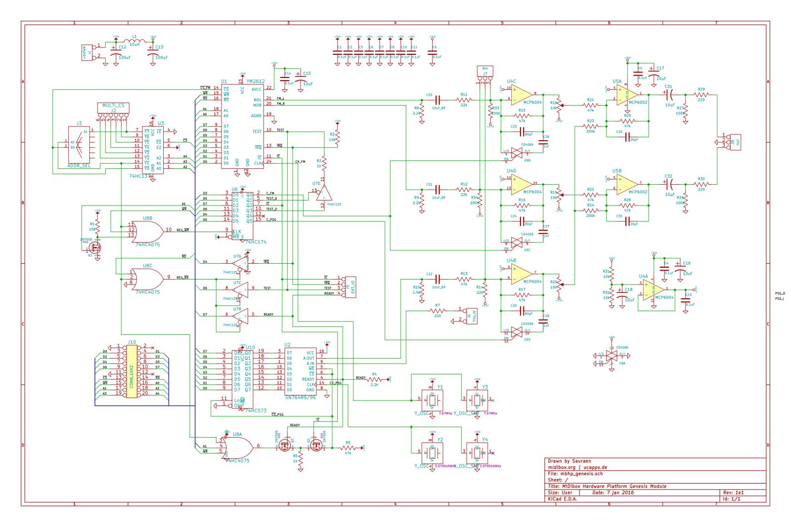 OLD VERSION MBHP_Genesis module schematic (rev. 1e1, for use with boards rev. 1e)