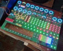 MIDIbox Quad Genesis Front Panel (MBQG_FP) PCB: Most LEDs On