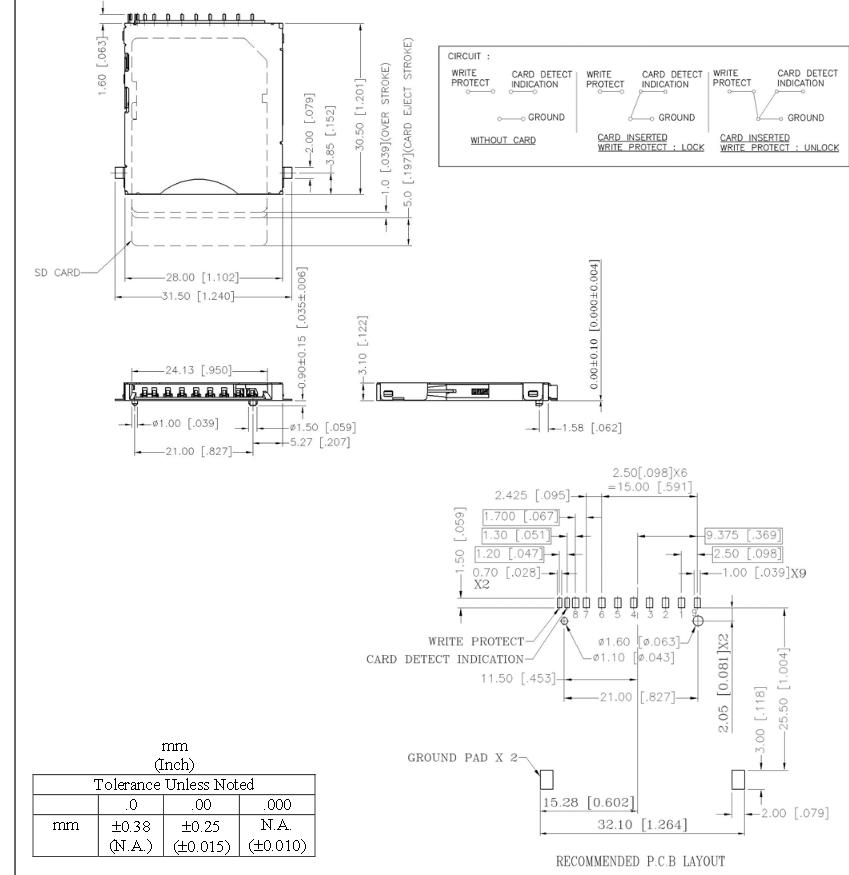 SD-Card-Slot / Socket - Supplier Footprint and interconnection