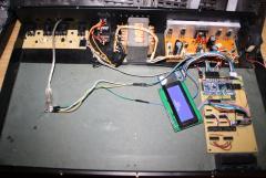 Gesamtansicht Innen, Midi Brakeout, Trafo, Spannungswandler, LCD, LPC-Veroboard